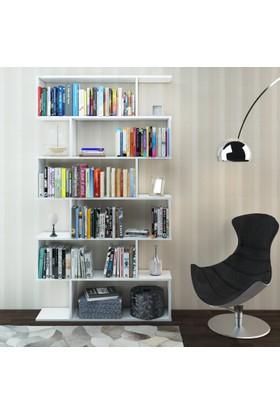 Eyibil Mobilya Yağmur 6 Raflı Modern Kaliteli Kitaplık ( Derinlik 28 cm ) Parlak Beyaz