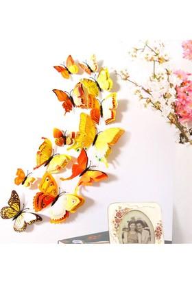 Decor Desing 3D Çift Kanatlı Lüks Kelebek Duvar Ve Perde Dekor Süsü Sarı