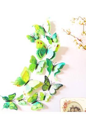 Decor Desing 3D Çift Kanatlı Lüks Kelebek Duvar Ve Perde Dekor Süsü Yeşil