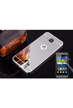 Teleplus Huawei Y6 Pro Aynalı Metal Kapak Kılıf + Cam Ekran Koruyucu