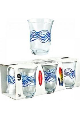 Paşabahçe 42191 Mavi Dalgalı Çay Bardağı 6 Lı