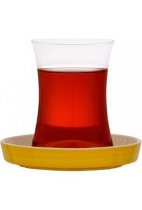 Koleksiyon İstanbul Tiryaki Çay Seti 6` Lı Sarı