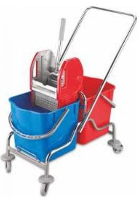 Ertan Plastik Çift Kovalı Temizlik Arabası Metal Presli