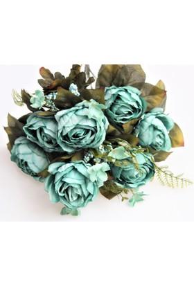 Yapay Çiçek Deposu Yapay Çiçek Katmer Gül Aranjmanı Turkuaz