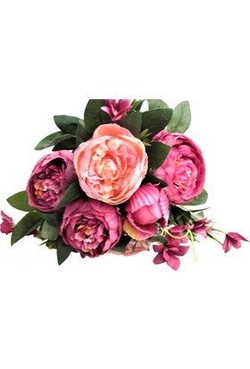 Yapay Çiçek Deposu Yapay Çiçek 10 Dal Lüx İncili Gül Aranjmanı Pembe
