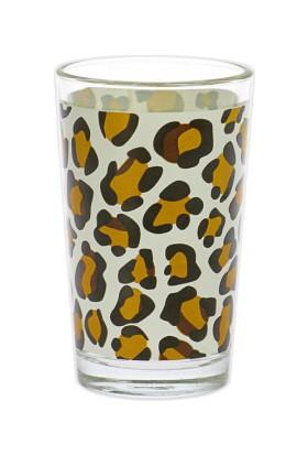 Joy Glass 6'lı Leopar Kahve Yanı Su Bardağı