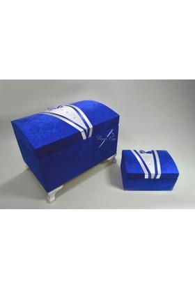 Çeyizci Damat Model Nişan Ve Çeyiz Sandığı (Lacivert)