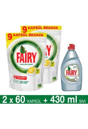Fairy Hepsi Bir Arada Bulaşık Makinesi Deterjanı Kapsülü Limon Kokulu 60 Yıkama 2'li Paket + Platinum Sıvı Bulaşık Deterjanı Limon 430 ml