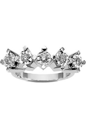 OJA Diamond 1,5 Karat Efektli Crinkle Pırlanta Beştaş Yüzük