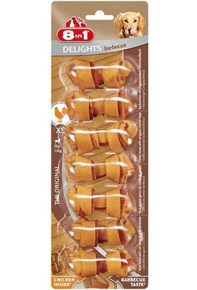 8 İn 1 Delights Bones Barbecue Tavuklu Ağız Bakım Kemiği XS Boy 7'li 84 Gr