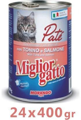 Miglior Gatto Somonlu Ton Balıkli Pate Kedi Konservesi 400 Gr (24 Adet)