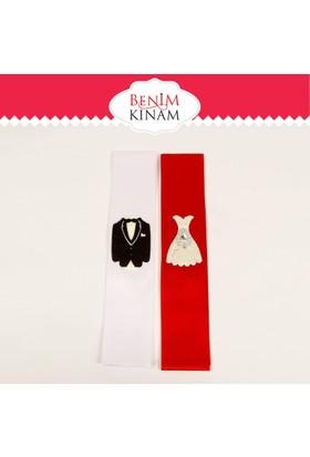 Smartevim Takı Şeridi Nişan Söz Düğün Gelin Damat Motifli Kırmızı Beyaz Tkm