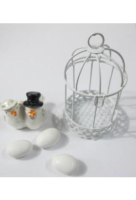 Smartevim Nikah Şekeri Tel Beyaz Kafes Hediyelik 10 Ad. Süsleme Malzemeleri