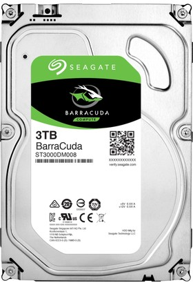 "Seagate Barracuda 3TB 3.5"" 7200RPM 64MB Cache Sata 3 Sabit Disk ST3000DM008"