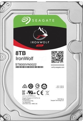 "Seagate IronWolf NAS HDD 8TB 3.5"" 7200RPM 256MB Cache Sata 3 Sabit Disk ST8000VN0022"