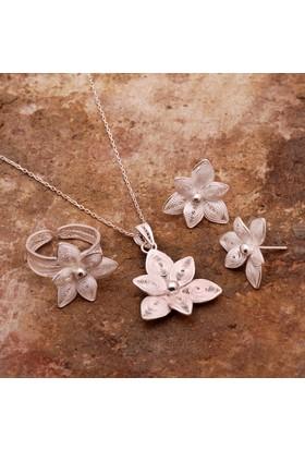 Sümer Telkari Yasemin Çiçeği Telkari Elişi Gümüş Set 1521