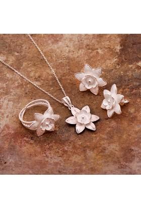 Sümer Telkari Nilüfer Çiçeği Telkari Elişi Gümüş Set 1535
