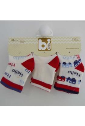 Bibaby 68089 Hello Desen 3'lü Bebek Çorabı