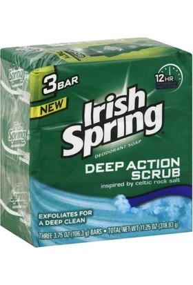 Irish Spring Deep Action Scrub Sabun 3Lü Paket