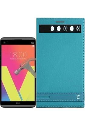 KılıfShop LG V20 Pencereli Mıknatıslı Kılıf + Ekran Koruyucu