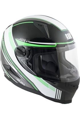 CGM Stoccarda Kapalı Motosiklet Kaskı Siyah-Yeşil 308G-CLA-89D Large