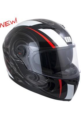 CGM Los Angeles Kapalı Motosiklet Kaskı Siyah-Kırmızı 308G-ALV-85D Large