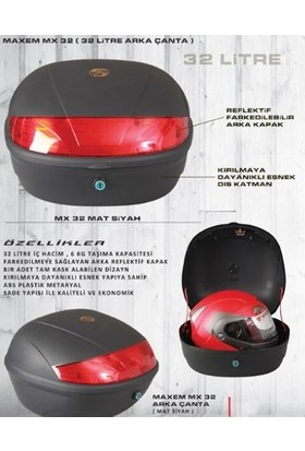 Maxem Motosiklet Maxem 32 Lt Arka Çanta Siyah