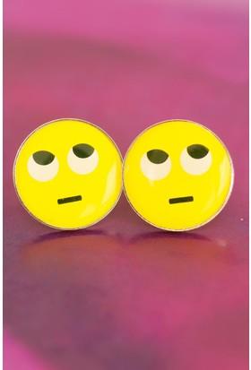 Anka Emoji Tasarımlı Düşünceli Yüz İfadeli Sarı Yuvarlak Bayan Küpe Modeli