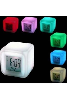 Anka 7 Renk Değiştiren Alarmlı Dijital Küp Saat