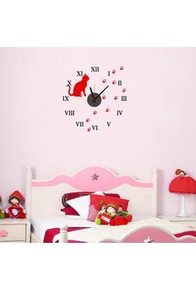 Anka Kedi Tasarımlı Duvara Yapışan Saat