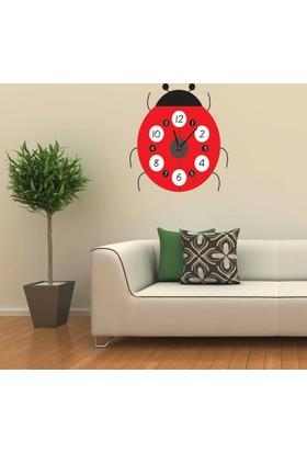 Anka Uğur Böceği Tasarımlı Duvara Yapışan Saat