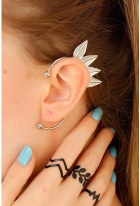 Anka Gri Metal Yaprak Figürlü Kulak Arkası Bayan Küpe