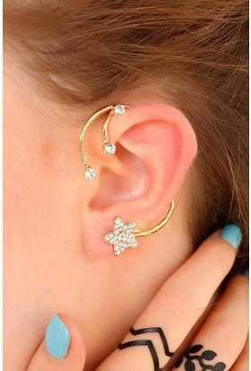 Anka Dore Metal Zirkon Parlak Taşlı Yıldız Figürlü Kulak Arkası Bayan Küpe