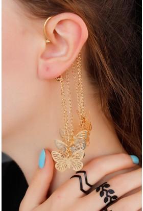 Anka Dore Renk Zincir Tasarımlı Kulak Arkası Model Bayan Küpe