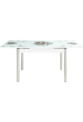Evinizin Mobilyası Açılır Cam Mutfak Masası Buket Desenli