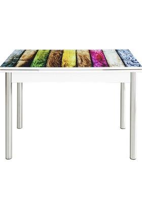 Evinizin Mobilyası Açılır Cam Mutfak Masası Renkli Ahşap Desenli