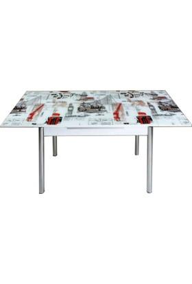 Evinizin Mobilyası Açılır Cam Mutfak Masası Dünya Desenli