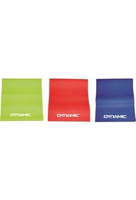 Dynamic 3'lü Pilates Band Seti – 120x15cm – 3 Ayrı Sertlikte