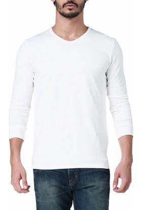 Robe Di Kappa Erkek Likralı V Yaka T-Shirt Beyaz 16004XQ001