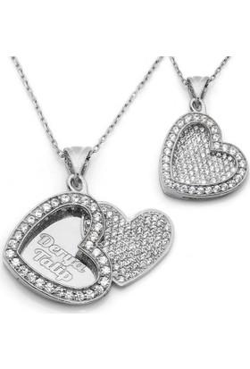 Mina Silver Açılan Kalp İsimli Gümüş Beyaz Taşlı Kişiye Özel Kolye