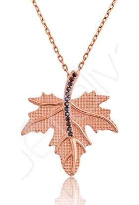 Beraliva Gümüş Rose Çınar Yaprağı Kolye Dekntz38 40 cm
