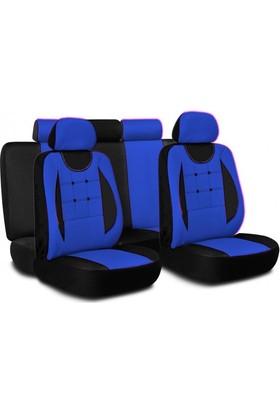 Düğmeli Ortopedik Oto Koltuk Kılıfı Seti Mavi Siyah