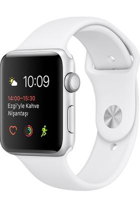 Apple Watch Seri 1 42mm Gümüş Rengi Alüminyum Kasa Beyaz Spor Kordon - MNNL2TU/A