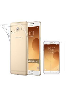 Case 4u Samsung Galaxy C9 Pro Silikon Kılıf Şeffaf + Cam Ekran Koruyucu