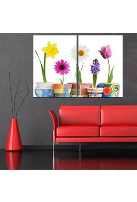 Eslim İ35 Saksıdaki Çiçekler Parçalı Tablo 100X150 Cm