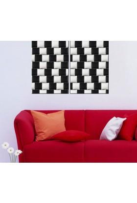 Eslim İ506 Siyah Beyaz Yatıklar Parçalı Tablo 50X75 Cm