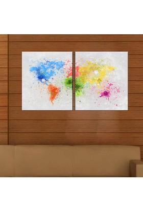 Eslim İ508 Boyadan Dünya Haritası Parçalı Kanvas Tablo 50X75 Cm