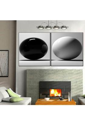 Eslim İ577 Siyah Ve Beyaz Toplar Parçalı Kanvas Tablo 100X150 Cm