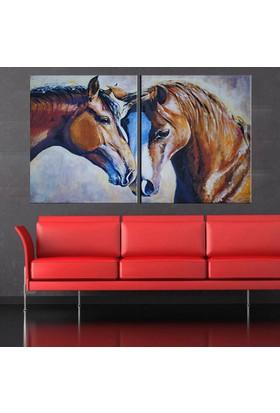 Eslim İ640 Horses Parçalı Kanvas Tablo 50X75 Cm