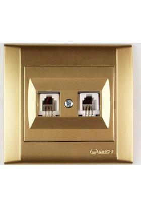 Makel Altın İkili Nümeris Telefon Prizi 1Rj 11 2 Adet